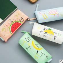 Student kawaii creative stationery bag small fresh fruit storage bag silicone triangle type female pencil case pen case pencil simple creative student storage pencil case 160 200 hole brush storage pencil case