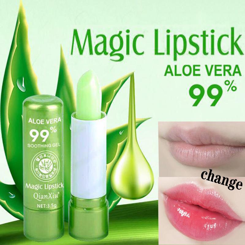 1pcs  Aloe Vera Lipstick Color Changing Lip Balm Lasting Moisturizing Moisturizing Waterproof Temperature Change Lip Balm