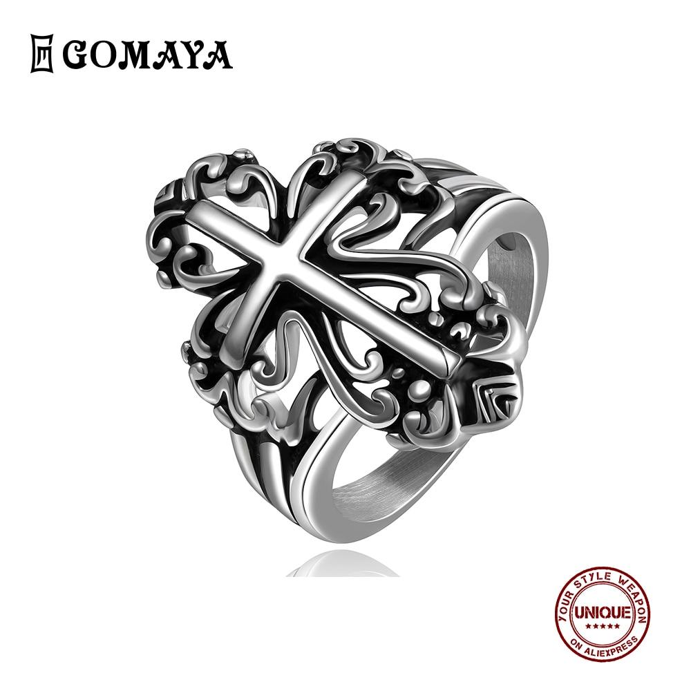 Gomaya punk estilo grande cruz 316l unissex anéis de aço inoxidável venda quente requintado moda jóias popular festa presente para amigo