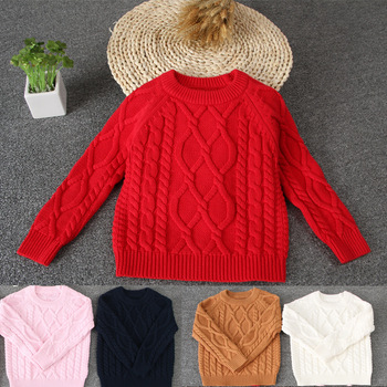 Autumn Baby Sweater Knitted Baby Boys Girls Toddler Solid Sweaters Kid's Pullover Cable Pullover 1-7 Years Children's Clothing