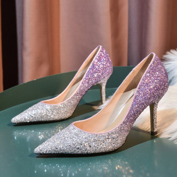 Genuine leather Wedding bride shingle high-heeled shoes pointy bridesmaid Gradient powder crystal banquet shoes bling high heels