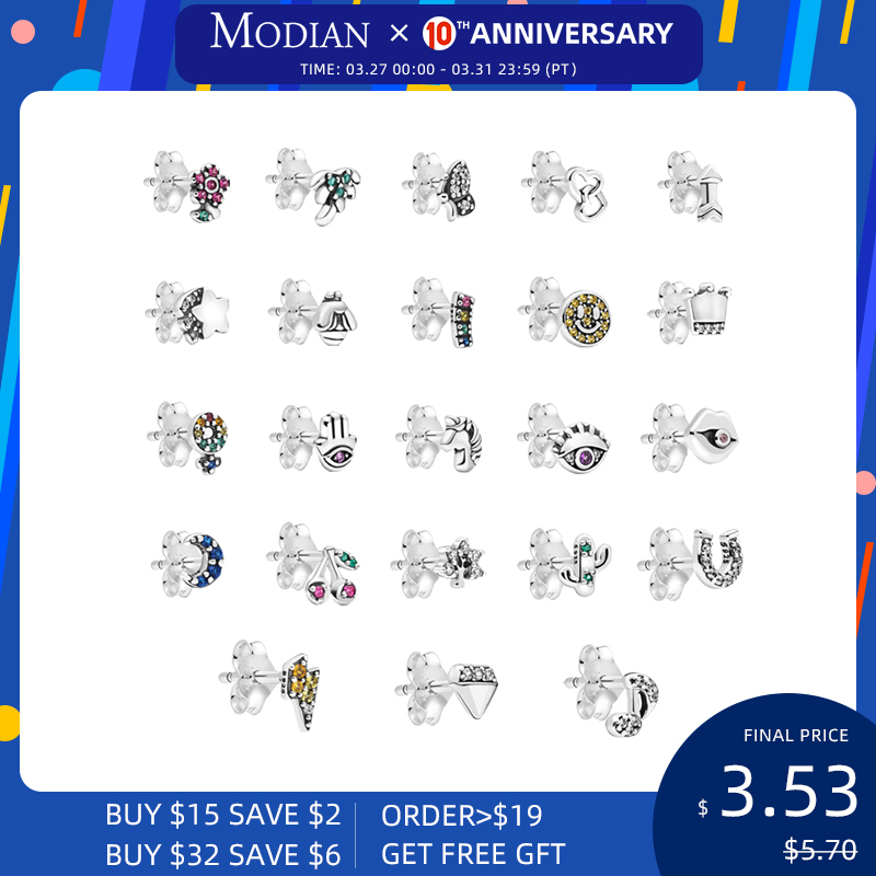 Modian 23 Style Tiny Cute Real 925 Sterling Silver Stud Earrings Stylish Moon Stars Earring For Women Christmas Gift Jewelry