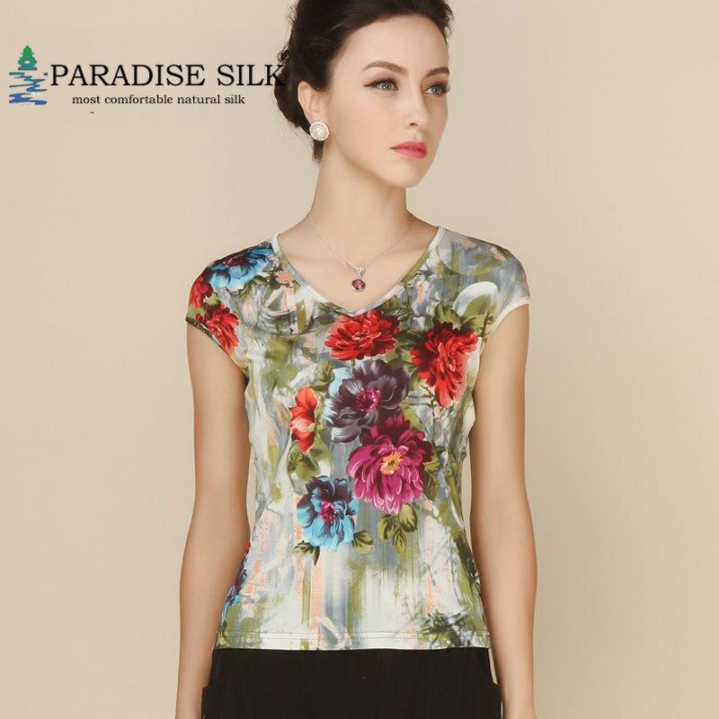 Women Shirt 100 Pure Silk Knit Print Summer Womens Cap Tops Bottoming Sweater Sleeve Top Size