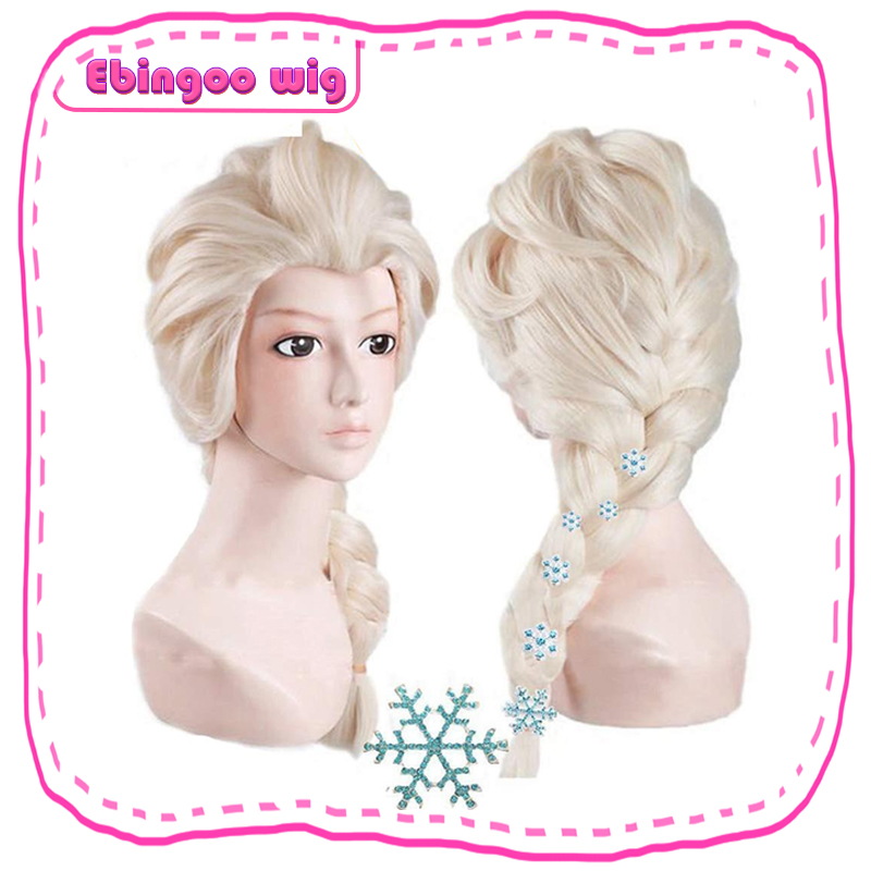 Ebingoo 6 Snowflake Hairpins+Hair Cap+ Platinum Blonde Braids Elsa Princess Cosplay Synthetic Wig For Kids Halloween Role Play