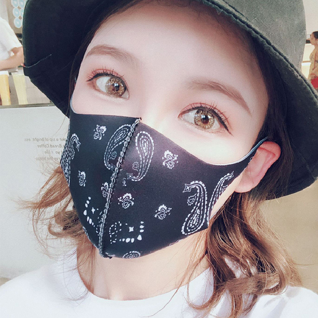 Fashion Black Mouth Mask Cotton Washable Cartoon Face Masks Personality Reusable Mouth-muffle Breathable Printed Mouth Covers 1