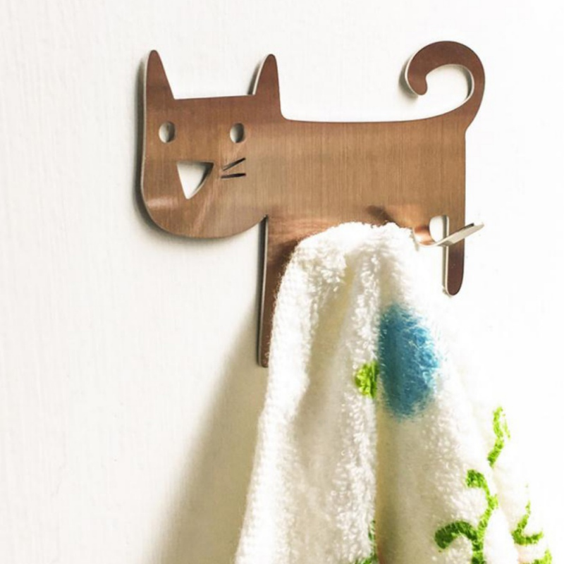 Cat-shaped Wall Mount Tool Storage Wall Clothes Key Hooks Decorative Kitchen Hook Metal Rack Hanger Door Drop