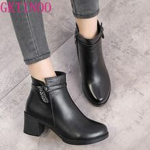 GKTINOO 2020 New Elegant Fashion Winter Boots Plus Velvet Ankle Boots Women Shoes Warm High Heel Genuine Leather Snow Boots zxryxgs brand shoes woman single ankle boots 2018 new fashion warm comfort plus velvet and wool snow boots genuine leather boots