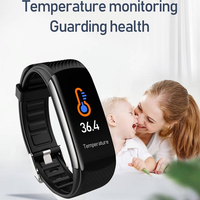 2020 New Fitness Bracelet Temperature Monitor Smart Band Heart Rate Blood Pressure Fitness Tracker Sports Wristband For Phone