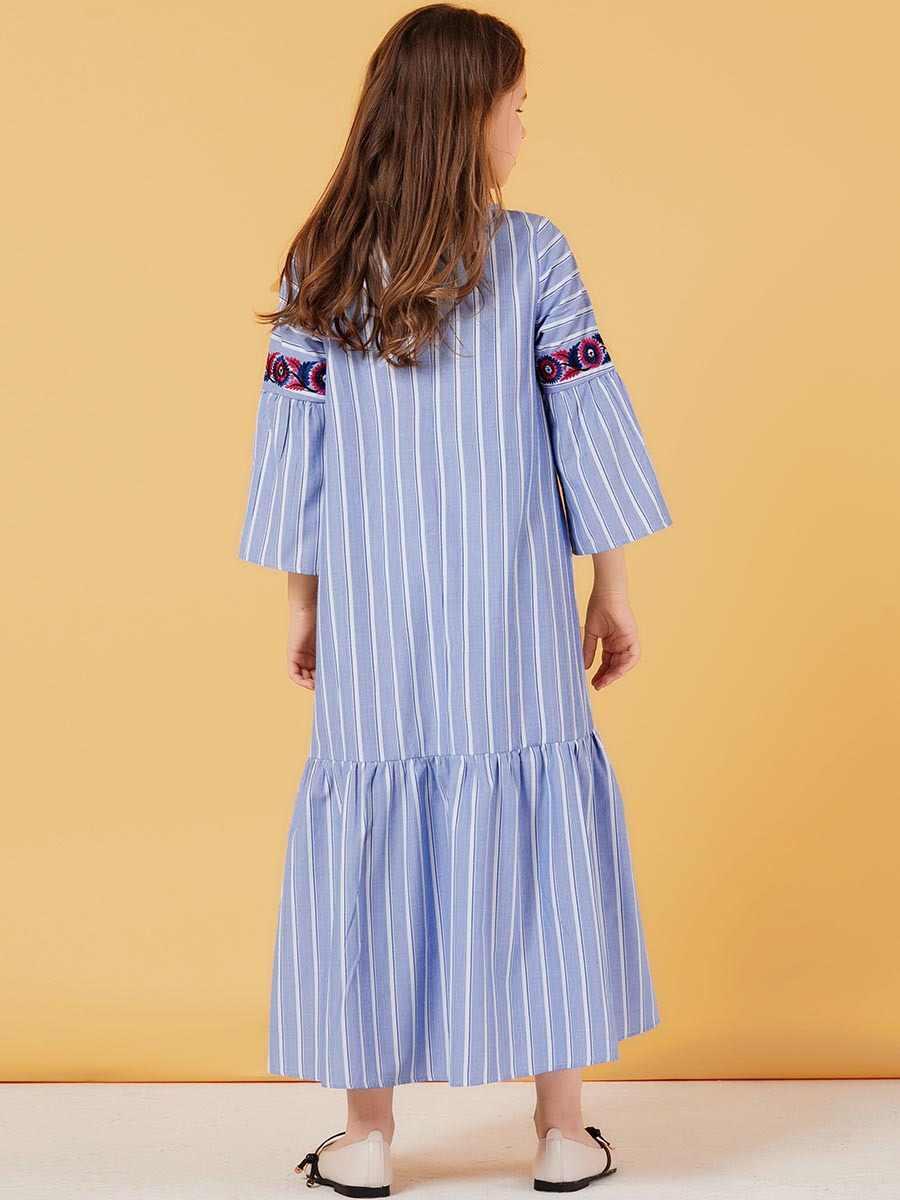 소녀의 줄무늬 이슬람 드레스 자수 어린이 Abayas 두바이 터키 방글라데시 귀여운 드레스 Kaftan 터키 이슬람 의류 Vestidos