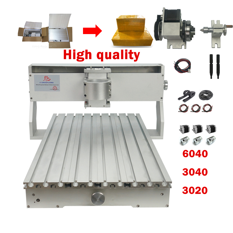 6040 <font><b>CNC</b></font> <font><b>router</b></font> machine Frame kit <font><b>3020</b></font> <font><b>CNC</b></font> 3040 milling machine Wood Milling <font><b>Router</b></font> Part with rotary axis with Stepper Motor image