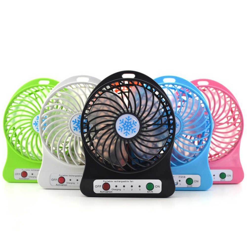 Adjustable 3 Speed USB Rechargeable Fans Summer Air Cooler Portable Personal Mini Fan With LED Light Office Desk Cooler Fan