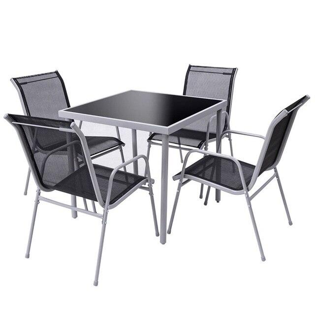 5 Pieces Bistro Set Garden Chairs 3