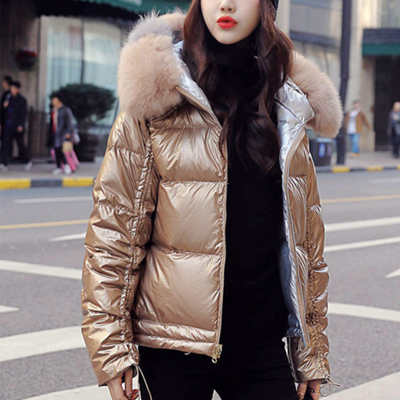 Winter Faux Fur Collar Short Parka Women Hooded Cotton Padded Jacket Female Shinny Parkas 2019 Fashion Thicken Warm Coats Woman