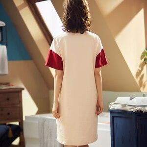 Image 2 - BZEL Fashion Women Night Skirt Spring Leisure Cotton Home Clothes Short Sleeve Nightgown Cartoon Ladies Sleepwear Pijamas Pyjama