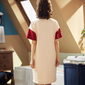 Image 2 - BZEL moda damska nocna spódnica wiosna wypoczynek bawełna ubrania domowe koszula nocna z krótkim rękawem Cartoon Ladies bielizna nocna Pijamas piżama