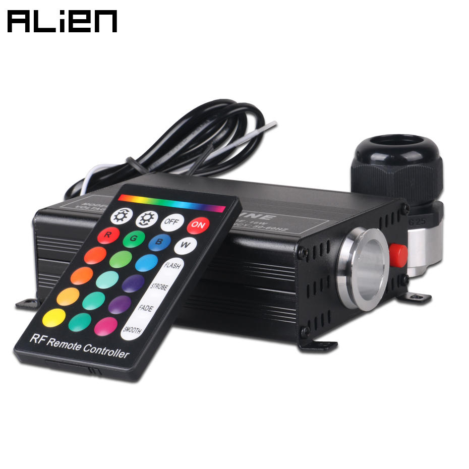 ALIEN 16W RGBW Fibre Optic Lighting With 24 Key RF Remote Controller Light Generator Optic Fiber Lights Engine