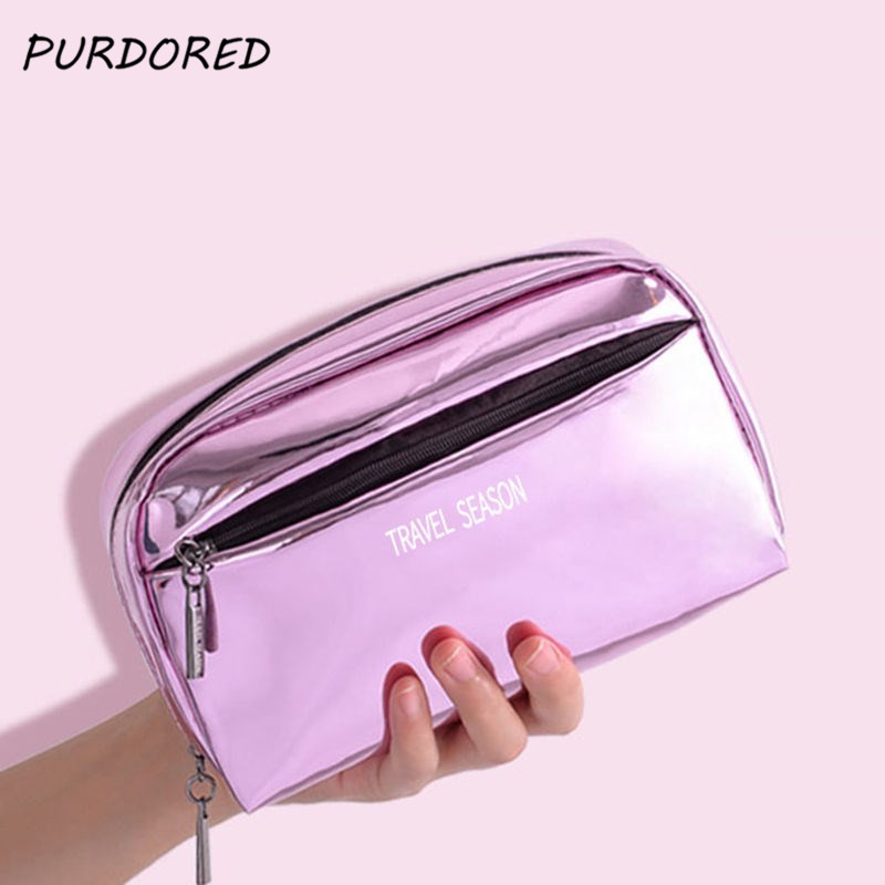 PURDORED 1 Pc Women Solid Cosmetic Bag Leather Large Capacity Travel Makeup Bag Female Laser Beauty Organizer Pouch Toiletry Kit