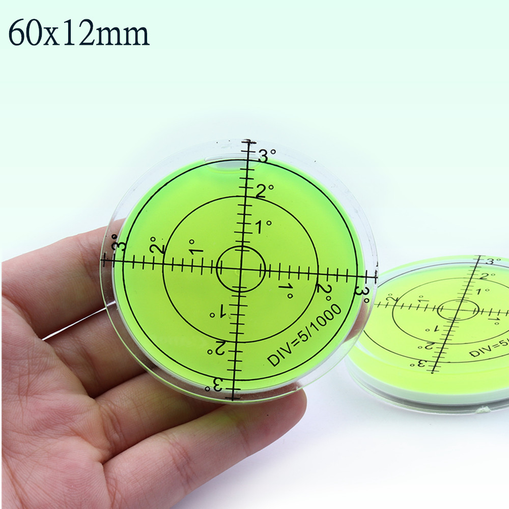 Universal Green Circular Level Bubble Bullseye Spirit Level Bubble Round Bubble Level Mätinstrument Verktyg 60X12 mm