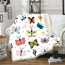 3D Print Cartoon Butterfly Throw Blanket Super Soft Fleece Blankets for Girls Kids Colorful Bed Covers Party Travel Nap