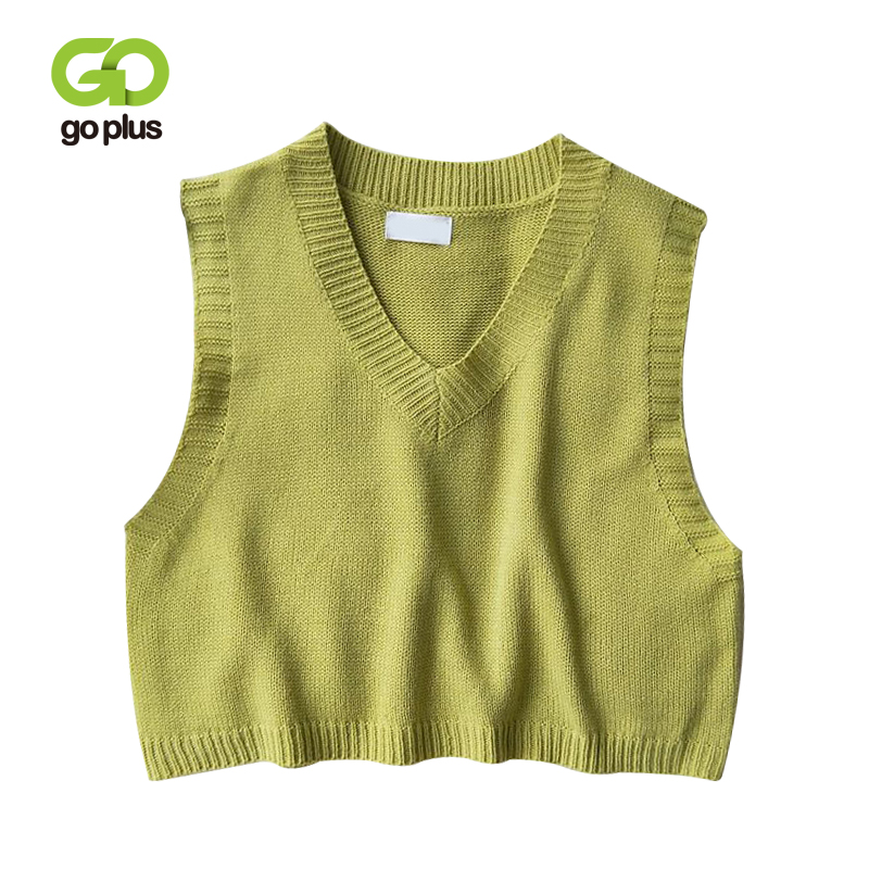 GOPLUS Women V Neck Knitted Vest 2021 New Spring Autumn Sweater Vests Short Female Casual Sleeveless Twist Knit Pullovers C9510