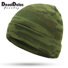 Winter Mens Knit Camouflage Hats Brand Ms. Warm New Gorros Touca Outdoor Green Military Army caps bone