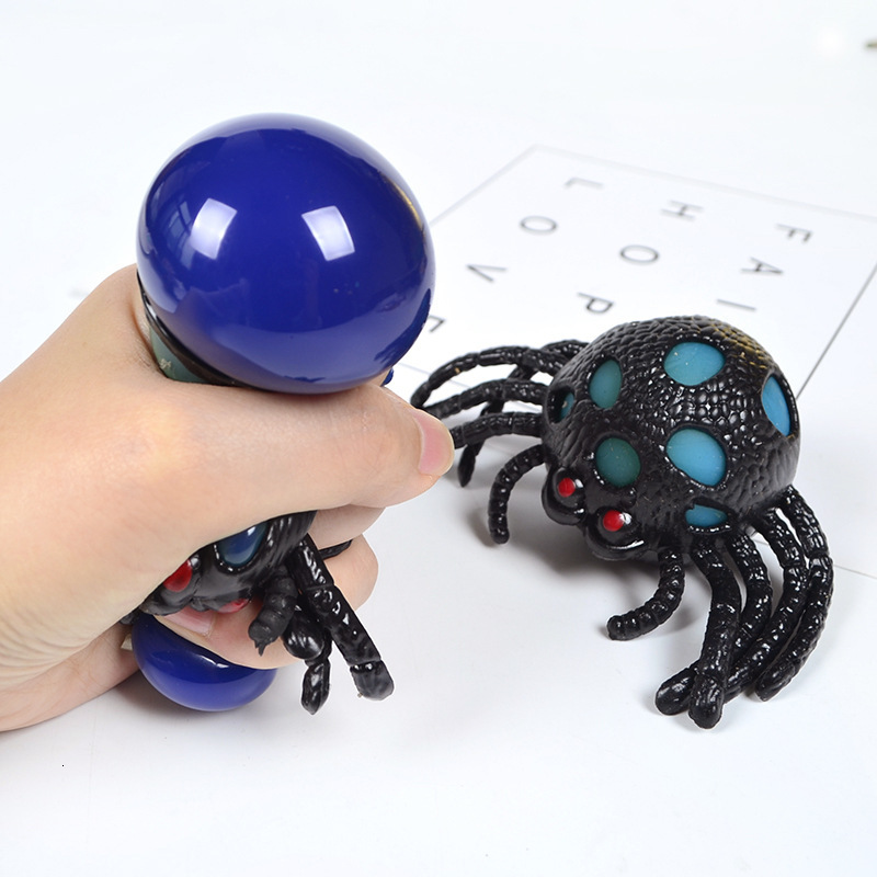 Kids Toy Squishy Spider Squishi Squeeze Toys Soft Plastic Toy Spider Vent Ball Horror Animal Vent Joke Toy For Halloween