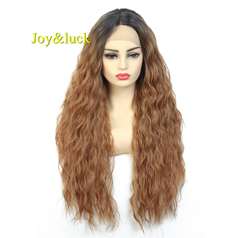 """Joy&luck 28"""" Long Lace Front Wig Kinky Curly Brown Ombre Middle Part Synthetic Wigs for Women"""