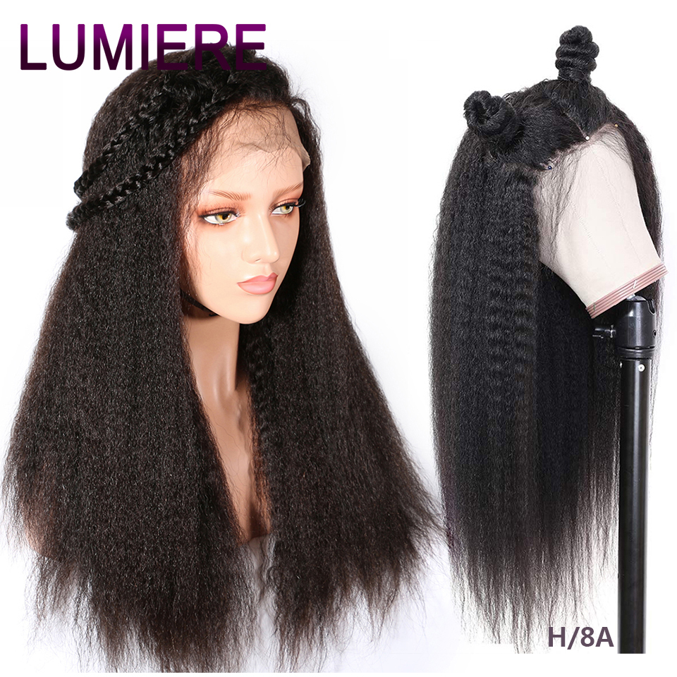 Wig Human-Hair-Wigs Lace Yaki 360 Glueless Brazilian Kinky Straight Lumiere title=