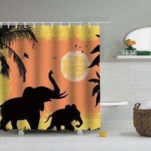 Image 3 - Dafield שקיעה מקלחת וילון אפריקה חיות פיל שחור צל אמבטיה מקלחת וילונות עמיד למים בד