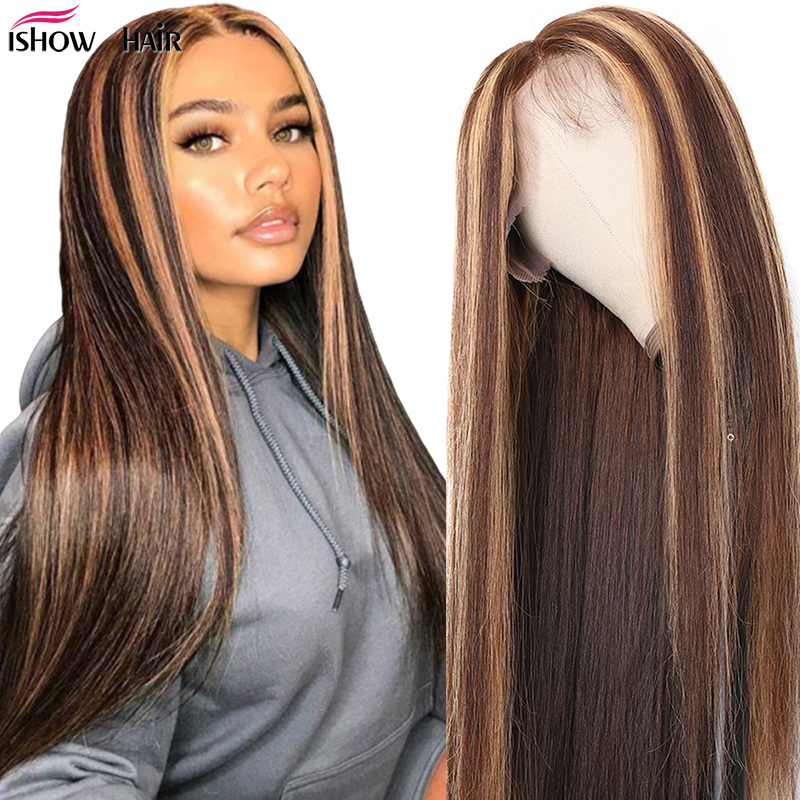 Ishow 13x4 Highlight Lace Front Human Hair Wig Honey Blonde Brown Pre Plucked Brazilian Remy 13X6 Lace Front Wigs Pre-plucked