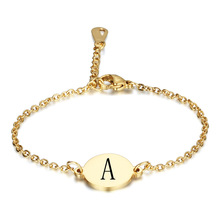 Round titanium steel letter ladies fashion bracelet gold carved jewelry