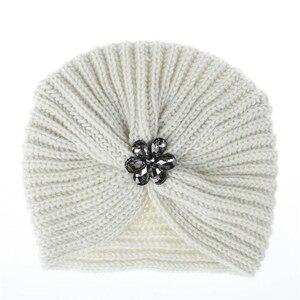 Image 4 - 1 pc di Modo Caldo di Inverno di Autunno Delle Ragazze Delle Donne di Stile Della Boemia lavorato a maglia Cap Accessori per Capelli Turbante Musulmano di Colore Solido cappello Copricapi