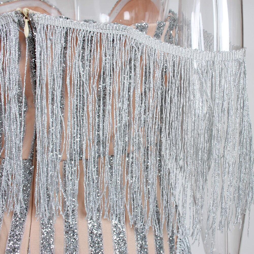 Paillettes Patchwork gland Sexy robe de soirée hors de l'épaule pailletée Maxi robe sans bretelles élégant brillant longues robes - 5