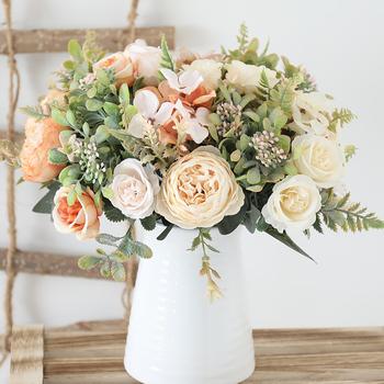Biały jedwab sztuczny róż kwiaty ślub strona główna jesienna dekoracja wysokiej jakościowy duży bukiet luksusowy sztuczny kwiat układ luzem tanie i dobre opinie CN (pochodzenie) 4D4105 Sztuczne kwiaty Różany Bukiet kwiatów Ślub Jedwabiu 21R03R23D40D