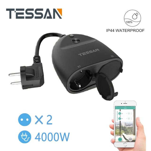 Tessan Eu Elektrische Stopcontact Smart Power Strip Met 2 Ac Outlets Aan/Uit Schakelaar, 110 250V Ourdoor Charger Adapter