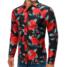 New Printed Men Long Sleeve Casual Mens roses Shirts Summer Autumn Spring Male Dress Cool Man Fashion Plus Size Top