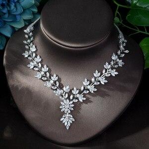 Image 4 - HIBRIDE סופר יוקרה עלה עלים מלא AAA מעוקב Zirconia נשים חתונה שמלת שרשרת עגיל תכשיטי סטי Bijoux Femme N 1143
