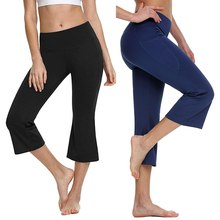 Sports Pants Sexy Women High Waist Sports Pants Stretch Calf Length Flare Pants With Pocket Workout Gym Leggings Fitness pants cheap LASPERAL Knee-Length STANDARD Broadcloth Office Lady Polyester Solid running pants women gym Clothing Yoga Pants athletic pants