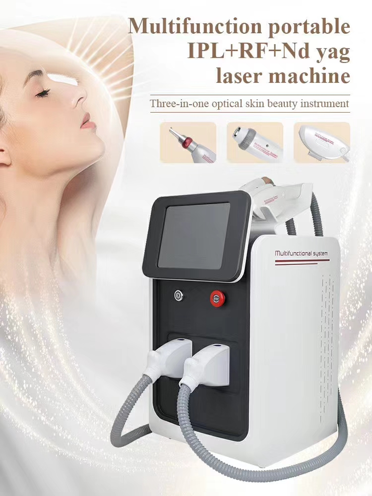 2021 new three-in-one RF Nd Yag laser multifunctional hair removal machine permanent laser hair removal beauty device