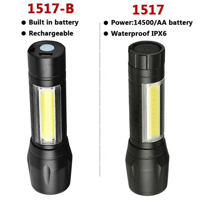 Built in Battery XP-G Q5 Led Flashlight Torch Aluminum Waterproof Camping Bulbs Shock Resistant Adjustable Zoomable Sport Light
