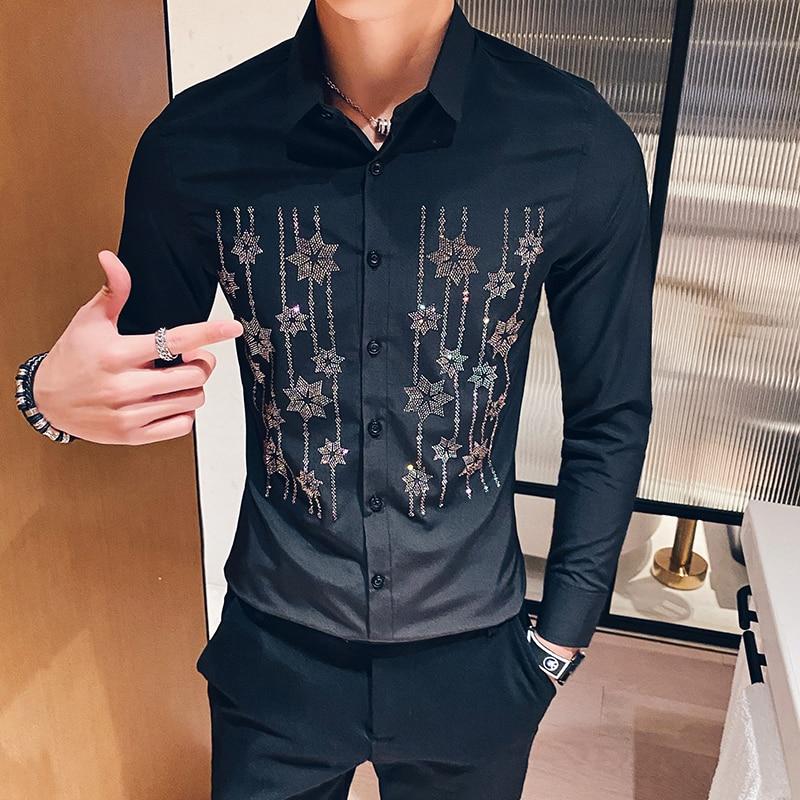 2020 Spring Rhinestone Flower Men Shirt Korean Men's Long-sleeved Casual Slim Fit Dress Shirts Streetwear Social Chemise Homme