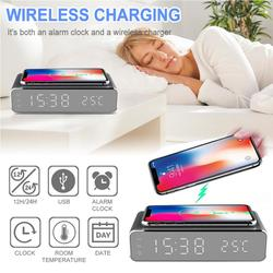 3 IN1 Electric LED Alarm Clock Phone Wireless Charger Desktop HD Digital Thermometer clock HD clock mirror new