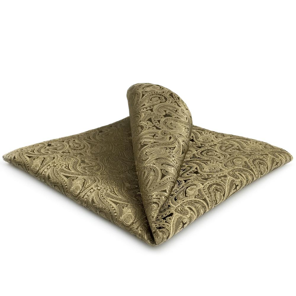 EH16 Brown Paisley Pocket Square Fashion Handkerchief Classic Wedding