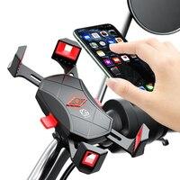 Soporte de teléfono para bicicleta y motocicleta, con bloqueo automático, espejo y GPS, rotación de 360 grados, para iPhone y HuaWei