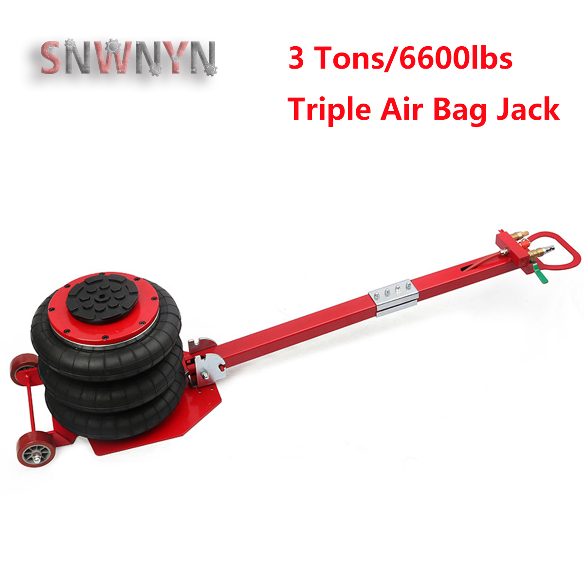 New Arrival 3 Tons/6600lbs Folding Triple Air Bag Jack Pneumatic Car Jack Stand Automotive Lifting Tools Red