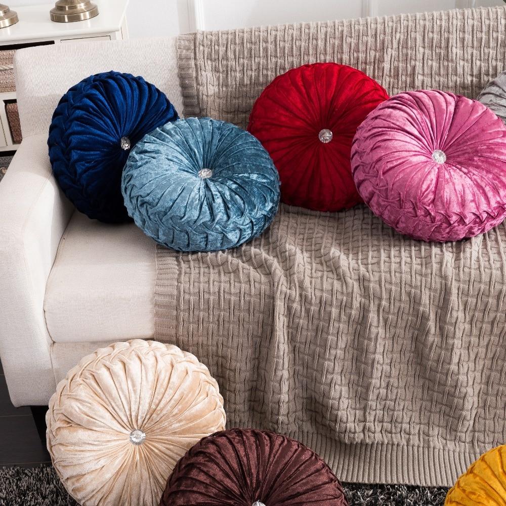 H41a0f3d3ce474b4ab3b3ce16895fd8452 European Pastoral Style Pumpkin Round Seat Cushion/Back Cushion or as Sofa pillow Velvet Fabric 35x35cm 9 Colors