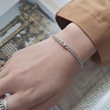Filluck authentic 925 pure silver flat chain bracelets fashion wild bracelets personality silver chain ornament fine jewelry