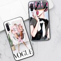 Chica de moda para Xiaomi Redmi Nota 10 8 9 7 Pro 8T Mi nota 10 9 10T 8 Pro SE A3 Lite F1 X3 Poco X3 de cristal templado de teléfono Funda