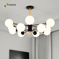 TRAZOS Wooden LED Pendant Lights with Glass Lampshade For Dining Room Metal Cord Hang Lamp Adjustable Hanging Lighting Fixture