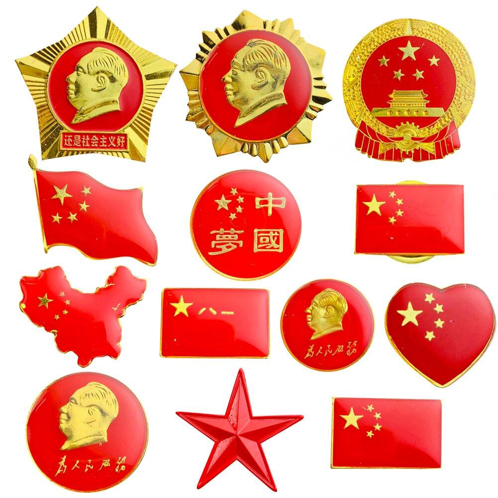 Любовь китайская карта флаг председатель Мао брошь с государственной эмблемой значки мечта сердце пятиконечная звезда лацкан для людей бу...